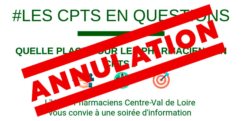 ANNULATION DE LA RÉUNION SUR LES CPTS DU 11 JUIN À CHATEAUROUX